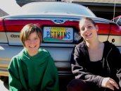 PC Twins - Candice & Cassidy w mom's old car