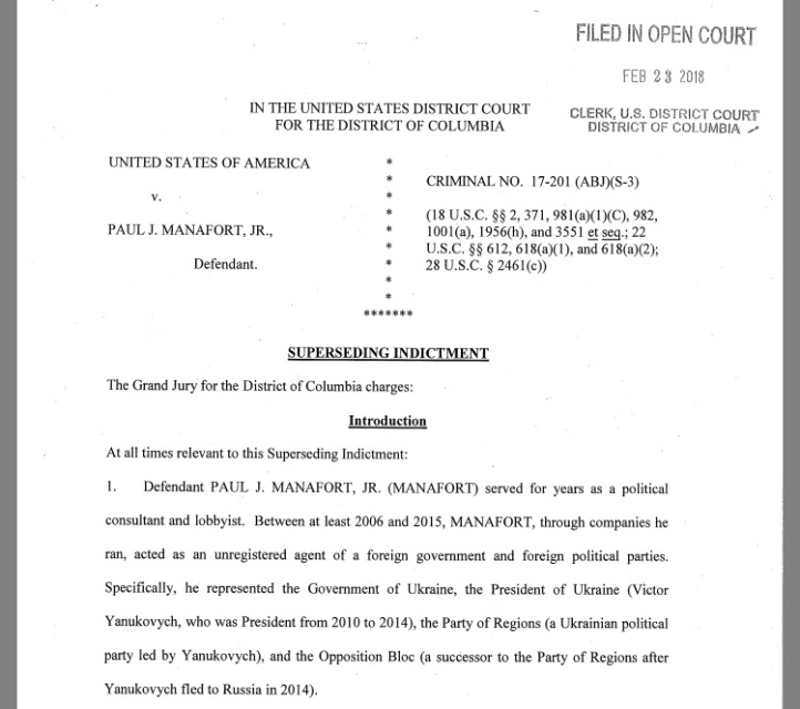 FEBRUARY 23, 2018: Manafort • Superseding Indictment in D.C., post-Gates Plea