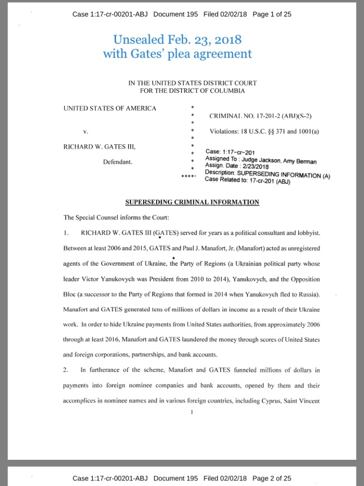 Unsealed FEBRUARY 23, 2018 with Gates' plea • Gates Superseding Indictment