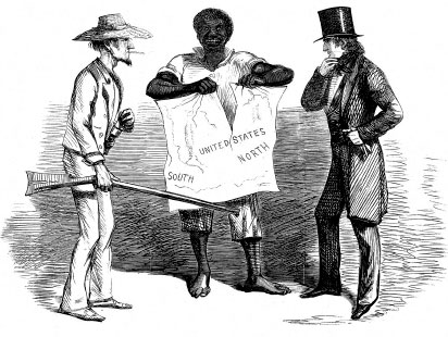 The Dis-United States, a cartoon published the day after the attack on Fort Sumter, shows a black man, depicted in the racist imagery common at the time, tearing a map of the United States, suggesting that slavery is the cause of the nation's disintegration. (Provided courtesy HarpWeek, LLC.)