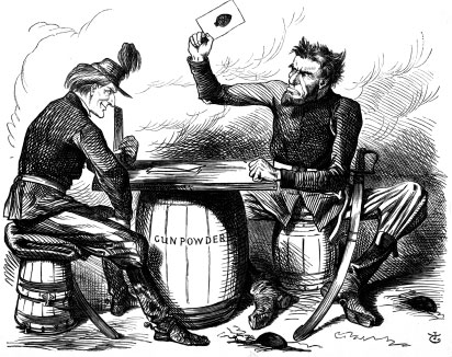 Abe Lincoln's Last Card, a cartoon in the English magazine Punch, depicts the Preliminary Emancipation Proclamation as the last card of a desperate gambler. (Chicago Historical Museum, ICHi-22094)