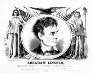 An 1860 campaign placard. The images and text emphasize Lincoln's commitment to justice, the Union, the Constitution, and liberty. (Courtesy of the Library of Congress)