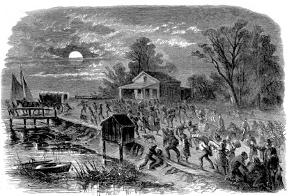 """Stampede of Slaves from Hampton to Fortress Monroe, a depiction of slaves seeking refuge at the Virginia fort where General Benjamin F. Butler initiated wartime emancipation by declaring fugitives """"contraband of war"""" and refusing to return them to their owners. (Provided courtesy HarpWeek, LLC.)"""